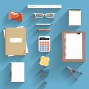 Calculator, Ruler and Paper - stock illustration