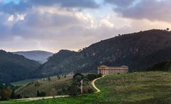 Landscape and doric temple Segesta archaeological area Stock Photos