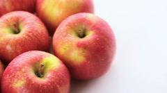 Close up of organic Gala apples. Stock Footage