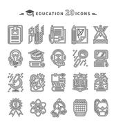 Education Icons on White Background - stock illustration