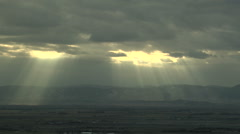Time Lapse of Crepuscular Sun Rays over Rockies Stock Footage