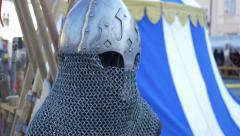 Chain Mail Medieval Helmet Stock Footage