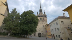 The Clock Tower in Sighisoara Stock Footage