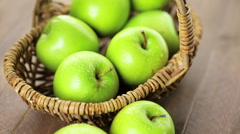 Organic Granny Smith apples on the table. Stock Footage