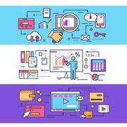 Analytics Statistics SEO. Video Marketing Concept - stock illustration