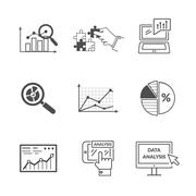 Set of Black Icons Data Analysis Stock Illustration