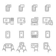 Set of icons modern technology and communication - stock illustration