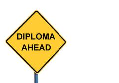 Yellow roadsign with DIPLOMA AHEAD message - stock photo