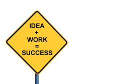 Stock Photo of Yellow roadsign with IDEA plus WORK equals SUCCESS message