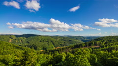 Idyllic summer aerial landscape. Forest and clouds. Stock Footage