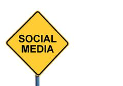 Yellow roadsign with SOCIAL MEDIA message - stock photo