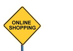 Yellow roadsign with ONLINE SHOPPING message - stock photo