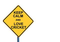 Yellow roadsign with KEEP CALM AND LOVE CRICKET message Stock Photos