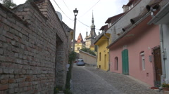 Colorful facades on Cetatii street in Sighisoara Stock Footage