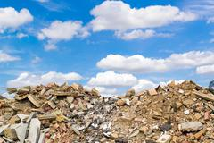 Rock Rubble and Blue Sky - stock photo