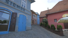 Citadel street, near Hermann Oberth square, Sighisoara Stock Footage