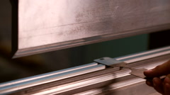 Bending machine processing fixture, close-up - stock footage
