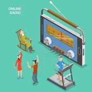 Online radio isometric flat vector concept. - stock illustration