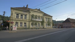 The former building of the Light Industry School in Sighisoara Stock Footage