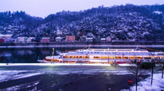 Riverside of the Danube in Passau at wintertime Stock Footage