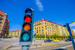 TRaffic light and classic arquitecture in downtown Gothenburg - stock photo