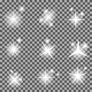 Set of Glowing Light Stars with Sparkles Vector Illustration - stock illustration