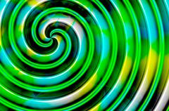 Green blue yellow black spiral turned to the left - stock illustration