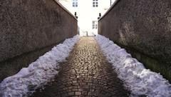 walkway with snow in oldtown - stock photo