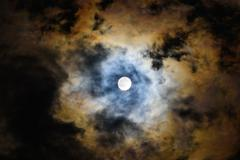 moon in the cloud - stock photo