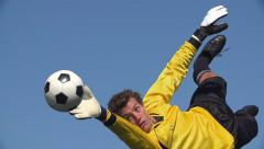 Goalkeeper makes save Stock Footage