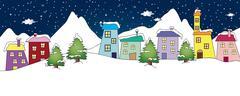 winter landscape - stock illustration