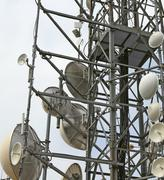 Large telecommunications antennas and repeaters Stock Photos
