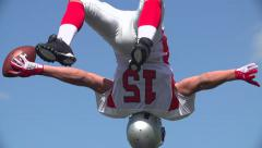 American Footballer celebrates touchdown. - stock footage