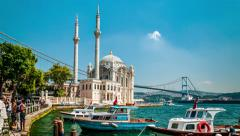 Istanbul - Ortakoy Mosque and Bosphorus bridge Stock Footage