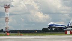 Planting cargo plane at the airport Tolmachevo - stock footage