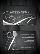beautiful floral  design business card template - stock illustration
