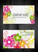 Beautiful floral style business card design Stock Illustration