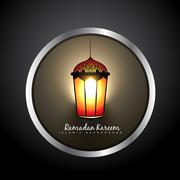 Beautiful ramadan kareem lamp label Stock Illustration