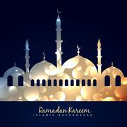 beautiful shiny mosque - stock illustration