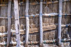 Close up of salt shed for collect dried salt from saline. Stock Photos