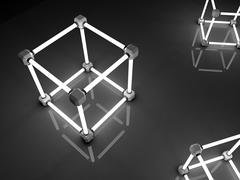 Glowing cubes of fluorescent tubes. Abstract composition of geometric processing - stock illustration
