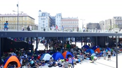 Refugees stranded at the Keleti Train station in Budapest Stock Footage