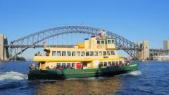 Tracking shot of a Sydney ferry departing McMahons point wharf in 4k - stock footage