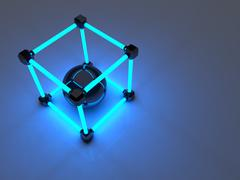 Glowing cubes of fluorescent tubes. Abstract composition of geometric processing Stock Illustration