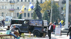 KIEV CITY,UKRAINE – 17 September 2015:  voluntary battalions collect donations - stock footage