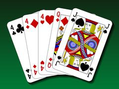 Poker hand - Three of a kind, trips Stock Illustration