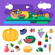 Harvest time vector illustration - stock illustration