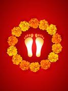 foot impression - stock illustration