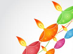 colorful diwali diya - stock illustration