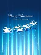 santa claus sleigh - stock illustration